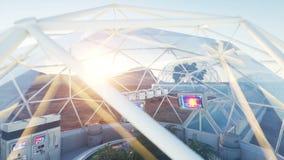 Ruimtelaboratorium, binnenland sc.i-FI het leven brengt in de war, vreemde planeet Installaties in de ruimte stock footage