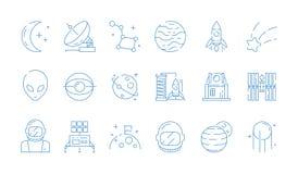 Ruimtelijnpictogram Van de de postraket van de maanastronomie de de astronautenvreemdeling speelt vector dunne symbolen mee stock illustratie