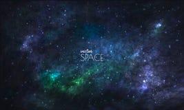 Ruimtemelkwegachtergrond met nevel, stardust en heldere glanzende sterren Vectorillustratie voor uw ontwerp, kunstwerken vector illustratie