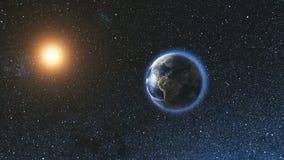 Ruimtemening over Aarde en Zon in Heelal Stock Afbeeldingen