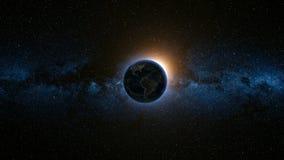 Ruimtemening over Aarde en Zon in Heelal Stock Foto's