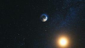 Ruimtemening over Aarde en Zon in Heelal Stock Fotografie