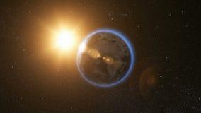 Ruimtemening over Aarde en Zon in Heelal Royalty-vrije Stock Fotografie