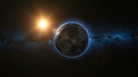 Ruimtemening over Aarde en Zon in Heelal Royalty-vrije Stock Afbeeldingen