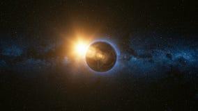 Ruimtemening over Aarde en Zon in Heelal Stock Foto