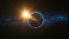 Ruimtemening over Aarde en Zon in Heelal Royalty-vrije Stock Foto's