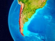 Ruimtemening van Chili in rood Stock Afbeelding