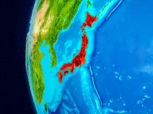 Ruimtemening van Japan in rood Stock Foto