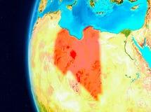 Ruimtemening van Libië in rood Royalty-vrije Stock Fotografie