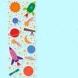 Ruimteobjecten raket, planeet, ster, komeet, ufo, satelliet royalty-vrije illustratie