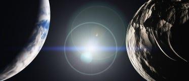 Ruimtepanoramalandschap mening van het heelal royalty-vrije illustratie