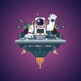 Ruimtepartij Astronaut in een nachtclub De Nota's van de piano (jpg+eps) Stock Foto