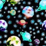 Ruimtepatroon met planeten stock illustratie