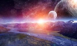 Ruimteplaneten en aard stock foto