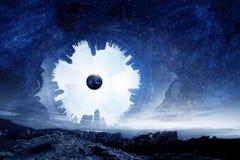 Ruimteplaneten en aard stock afbeelding