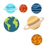 Ruimteplanetenbeeldverhaal of het Ruimtediebeeldverhaal van Planetenclipart op witte achtergrond wordt geïsoleerd vector illustratie