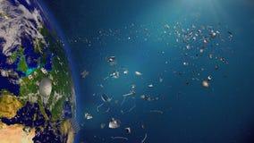 Ruimtepuin in Aardebaan, gevaarlijke troep die rond de blauwe planeet cirkelen stock illustratie
