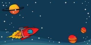 Ruimteraketten met planeten en sterren Royalty-vrije Stock Afbeelding