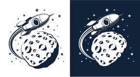 Ruimteraketvliegen rond de planeet met kraters gelijkend op de maan vector illustratie