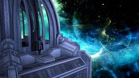 Ruimtereiziger bij abstracte achtergrond van diepe ruimte stock illustratie