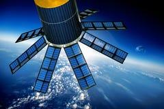 Ruimtesatelliet over de aarde stock afbeelding
