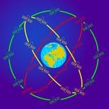 Ruimtesatellieten in zonderlinge banen rond Royalty-vrije Stock Foto