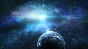 Ruimtescène Aardeplaneet met blauwe nevel Elementen door NASA worden geleverd die 3d aangaande stock illustratie