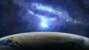 Ruimtescène Aardeplaneet in zonsopgang met melkachtige manier Elementen door NASA worden geleverd die stock illustratie