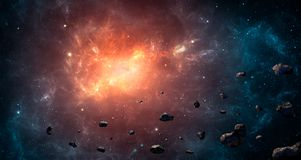 Ruimtescène Blauwe en oranje nevel met asteroïden Elementenbont vector illustratie