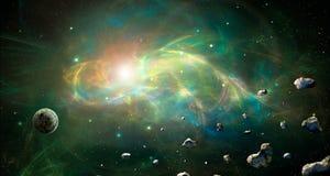 Ruimtescène Kleurrijke fractal nevel met planeet en asteroïden stock illustratie