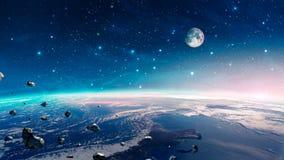 Ruimtescène Kleurrijke nevel met aardeplaneet, maan en asteroïden Elementen door NASA worden geleverd die het 3d teruggeven royalty-vrije illustratie