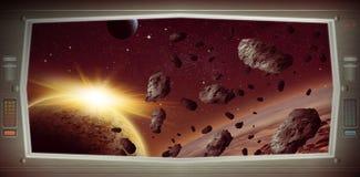 Ruimtescène met asteroïden van venstermening stock illustratie