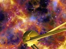 Ruimtescène met 3D planeten/ruimteschepenillustratie vector illustratie