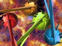 Ruimtescène met 3D planeten/ruimteschepenillustratie Stock Afbeeldingen