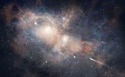 Ruimtescène Oranje en blauwe nevel met asteroïden en ruimteschip royalty-vrije illustratie