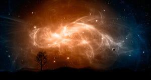 Ruimtescène Oranje en blauwe nevel met planeet en boom, land s royalty-vrije illustratie