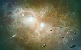 Ruimtescène Oranje en groene nevel met asteroïden en spaceshi royalty-vrije illustratie