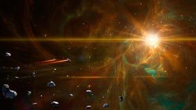 Ruimtescène Oranje fractal nevel met ruimteschip en asteroïden Elementen door NASA worden geleverd die het 3d teruggeven stock illustratie