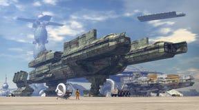 Ruimteschip bij ruimtehaven Stock Fotografie