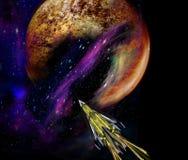 Ruimteschip die een onbekende planeet naderen stock illustratie