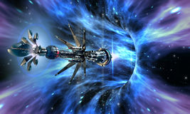 Ruimteschip die een wormhole ingaan Stock Afbeelding