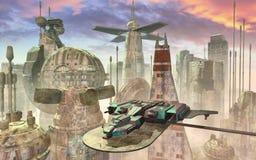 Ruimteschip en futuristische stad vector illustratie