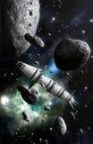 Ruimteschip en stervormig gebied royalty-vrije illustratie