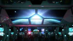 Ruimteschip futuristisch binnenland Zonsopgangmening van cabine Galactisch reisconcept stock videobeelden