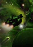 Ruimteschip in groene nevel Stock Foto's