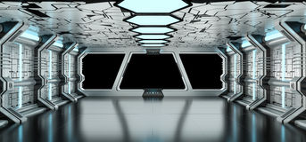 Ruimteschip het blauwe en witte binnenlandse 3D teruggeven Royalty-vrije Stock Fotografie