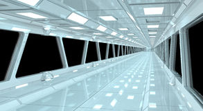Ruimteschip het witte gang 3D teruggeven Stock Foto's