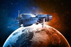 Ruimteschip met aarde royalty-vrije illustratie