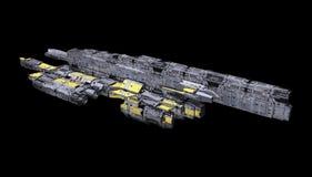 Ruimteschip op een zwarte achtergrond wordt geïsoleerd die royalty-vrije illustratie
