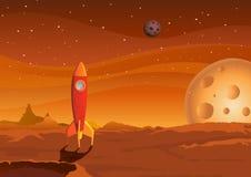 Ruimteschip-op-martian-landschap Stock Foto's